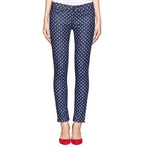J Crew Toothpick skinny jeans blue with polka dots